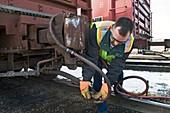 Rail yard brake connection