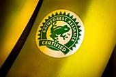 Rainforest Alliance label on banana