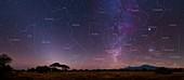 Night sky over Mount Kilimanjaro