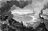 Mount Vesuvius erupting,1872