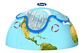 Polar vortex and jet stream,artwork