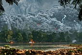 Artwork of a pyroclastic flow