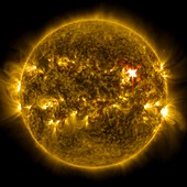 Sun and X1 solar flare,ultraviolet image