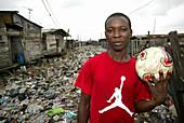 Man holding a soccer ball