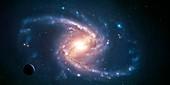 Artwork of a barred spiral galaxy