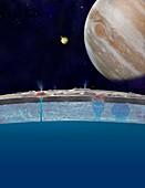 Europa's surface ocean,illustration