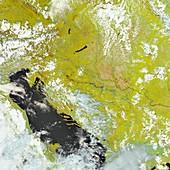 Flooding in the Balkans,satellite image