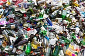 Household waste at a recycling plant