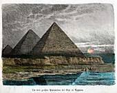 Pyramids of Giza,historical illustration