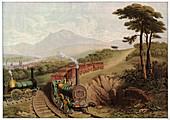 Wooden-railed railway,illustration