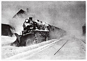 Railway snow plough,France,illustration