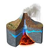 Mount Ontake eruption,illustration