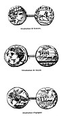 Ancient Greek coins,illustration