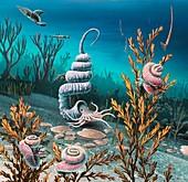 Cretaceous heteromorph ammonites,artwork
