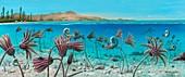 Triassic land and marine life,artwork