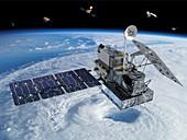GPM rainfall satellite,illustration