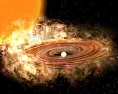 Accretion disk around binary star system