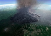 Artwork of ultra-plinian eruption