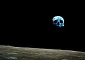 Earthrise as skull,conceptual image
