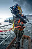 Commercial diver in diving suit