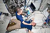 ISS astronaut ultrasound scan