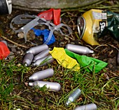 Discarded laughing gas capsules