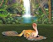 Caudipteryx dinosaur,illustration