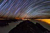 Star trails over Caldera de Taburiente