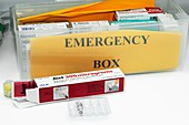 Emergency kit with adrenaline injector