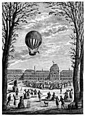 First manned hydrogen balloon,1783