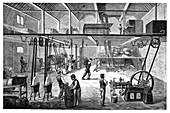 Otto engine on a farm,19th century