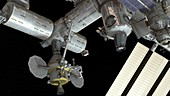 Orion docked to the ISS,illustration