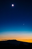 Moon in a twilight sky with Venus and Mar