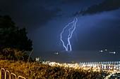 Lightning strikes the Mediterranean Sea