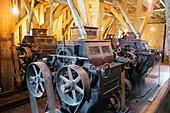 Historic flour mill machinery