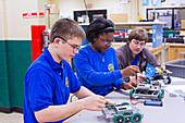Engineering academy robotics students