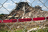 Asbestos demolition hazard warning