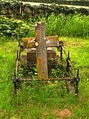Lichen on a stone cross in clean air