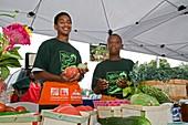 Boys at a farmers market