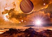 Alien planet and Eagle Nebula