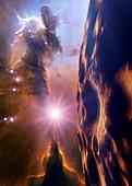 Asteroid and Eagle Nebula