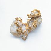 Gold in quartz groundmass,close-up