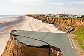 A collapsed coastal road