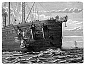 Atlantic telegraph cable laying,1865