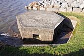 An old World War two pill box flooded