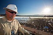 A worker at the Ivanpah Solar Thermal