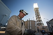 A worker at the Ivanpah Solar