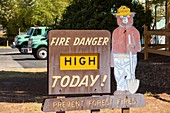 A wildfire danger sign in Springville