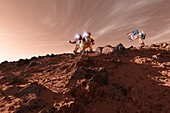 US astronauts on Mars,artwork