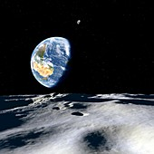 Earth and asteroid,illustration